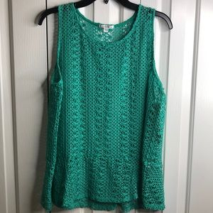 NWT Erin London size L green crochet peplum top